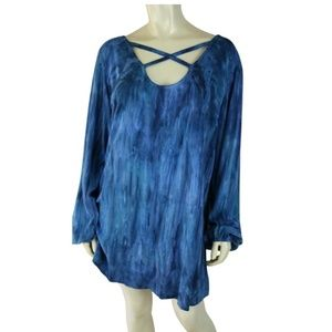Soft Surroundings Top L Blue Rayon Tie Dye